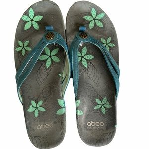 Abeo Fayna Teal Nubuck Leather Sandals